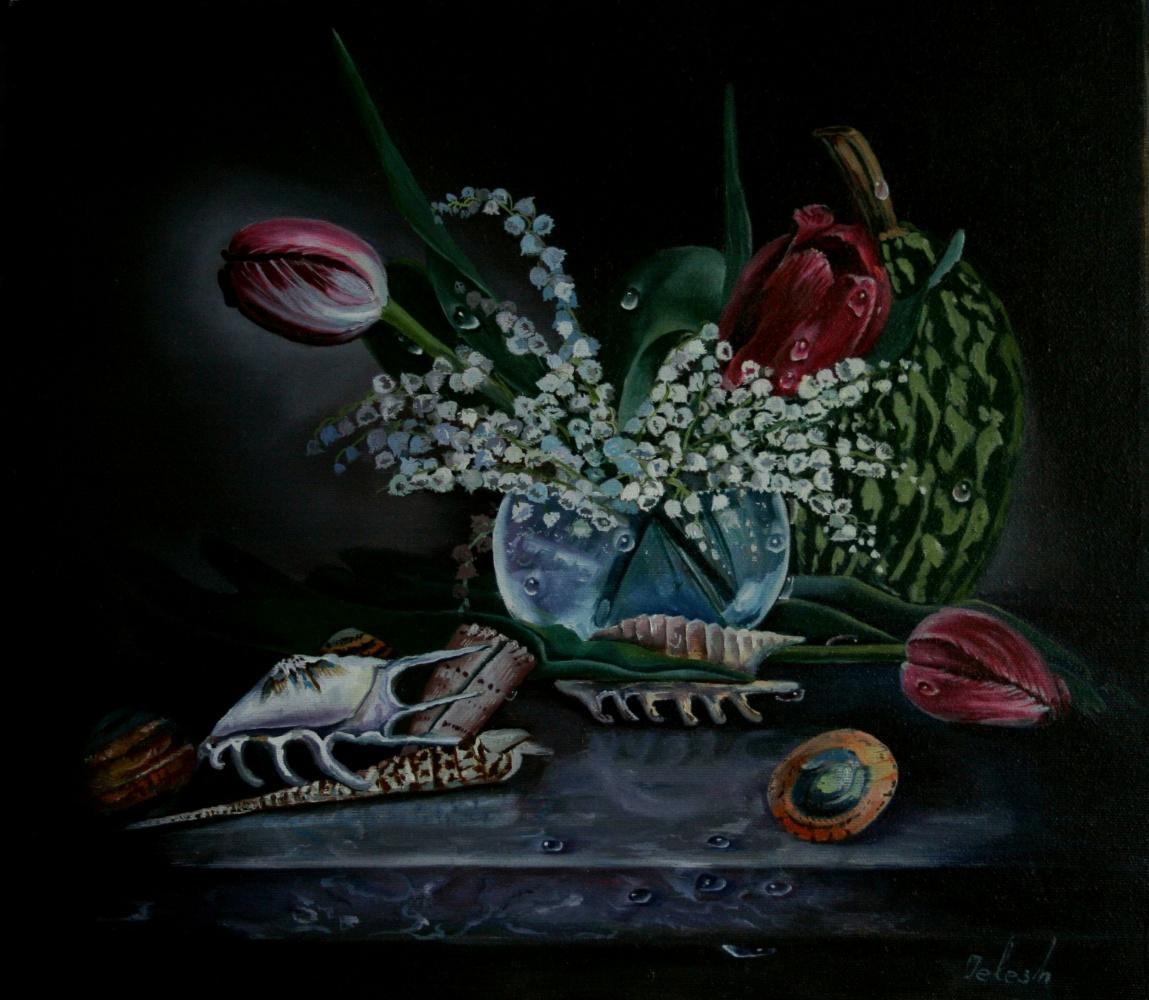 Nataliya Vladimirovna Telesh. Still life with tulips