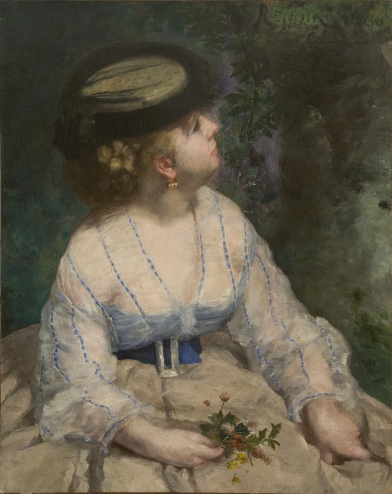 Pierre-Auguste Renoir. Woman looking at a bird