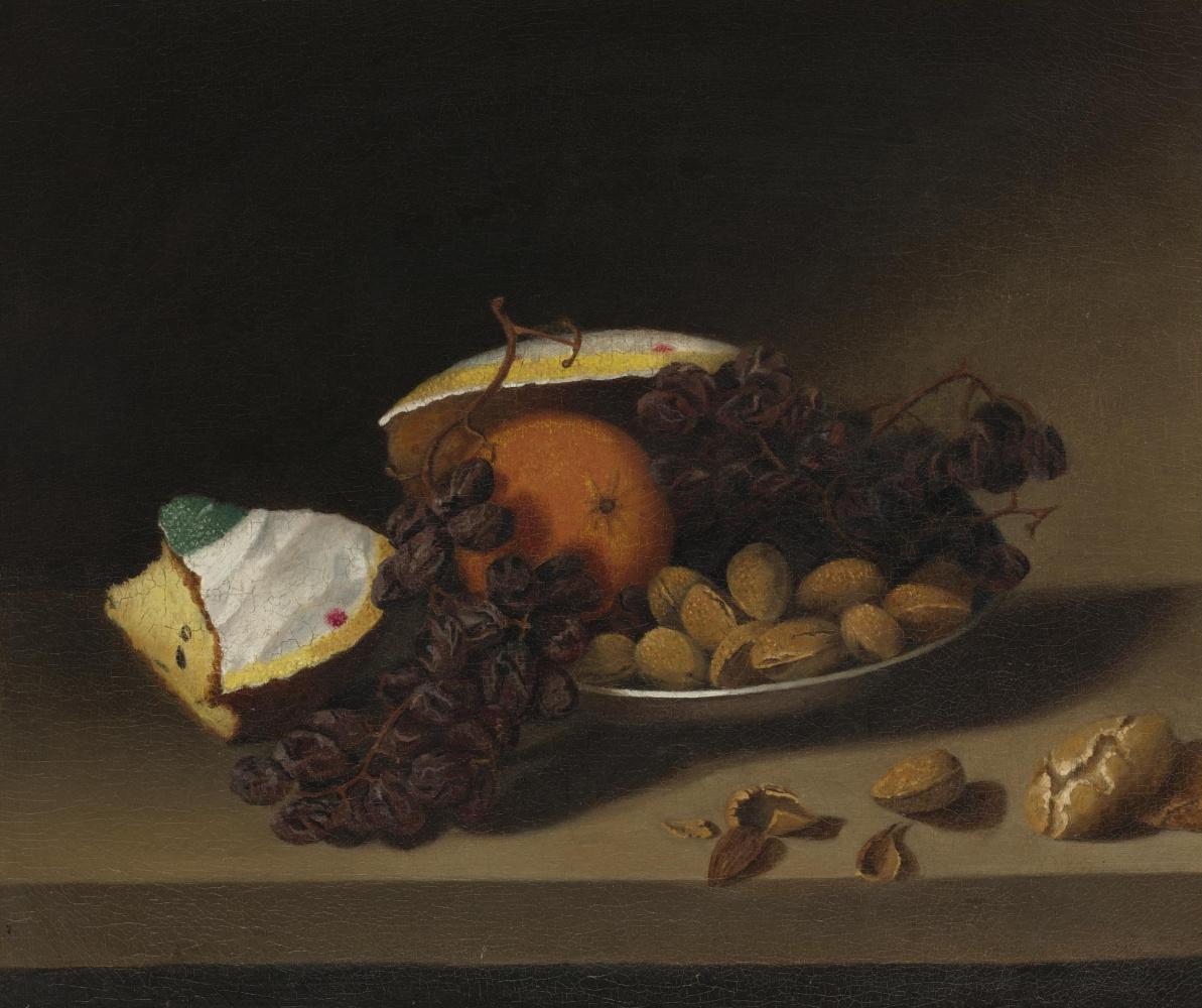 Margaretta Angelica Peel. Натюрморт с кексом, изюмом и орехами