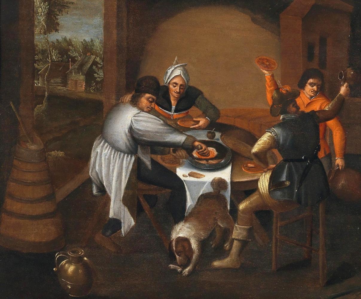 Martin van Cleve. Walking peasants