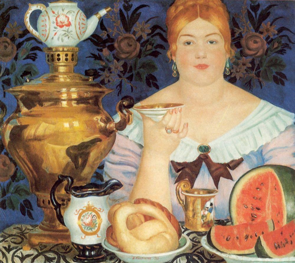 Борис Михайлович Кустодиев. Купчиха, пьющая чай