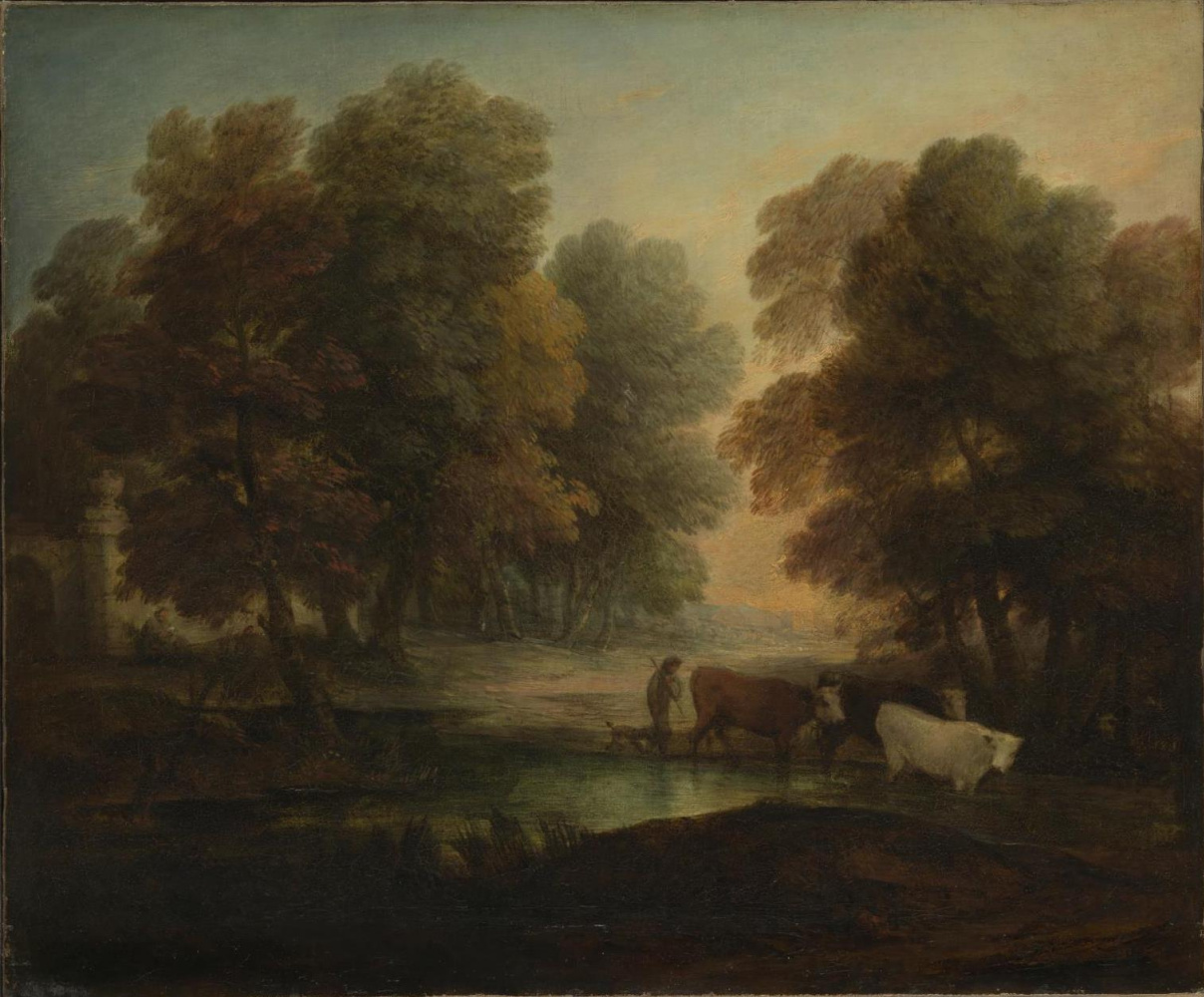 Thomas Gainsborough. A shepherd boy with cows near the pond