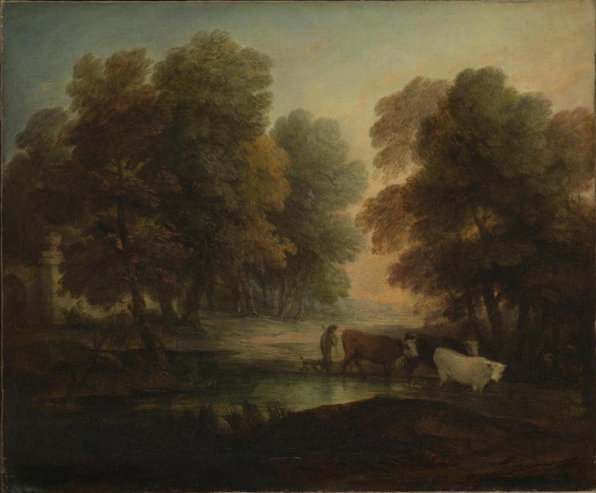 Thomas Gainsborough. A shepherd boy with cows near the pond