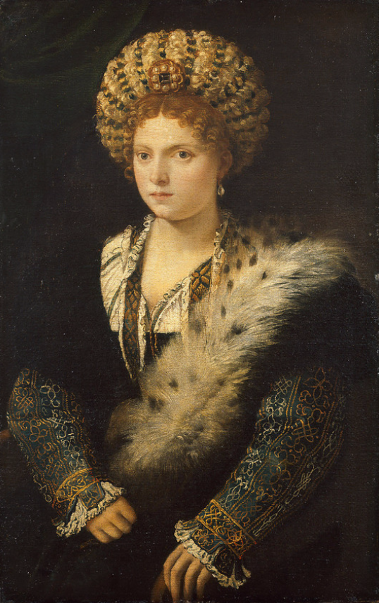 Titian Vecelli. Portrait of Isabella d'este, of Mantua markgravine