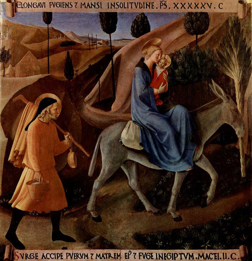 Фра Беато Анджелико. Цикл сцен из жизни Христа для шкафа для хранения серебряной посуды, сцена: Бегство в Египет