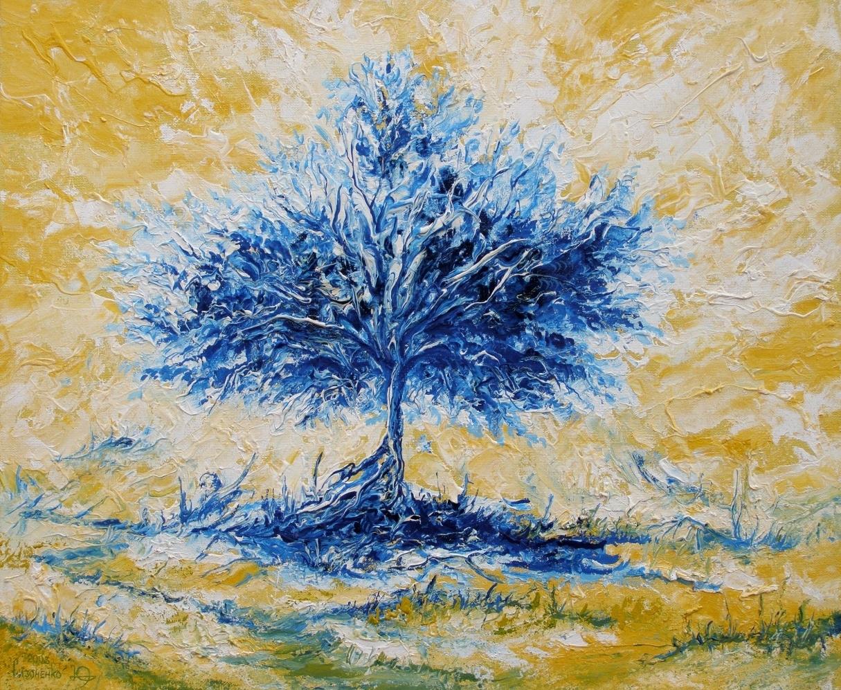 Юрий Сизоненко. Пейзаж с синим деревом.