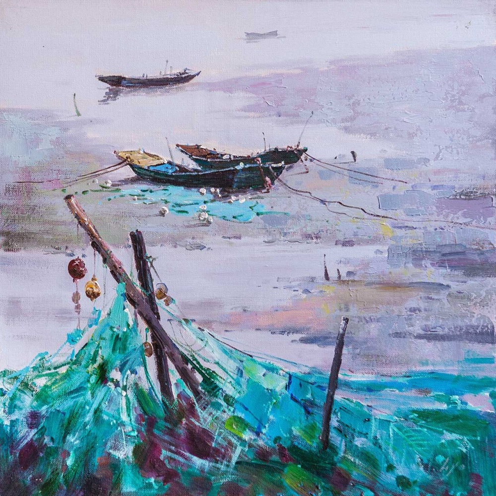(no name). Landscape with fishing boats in turquoise colors