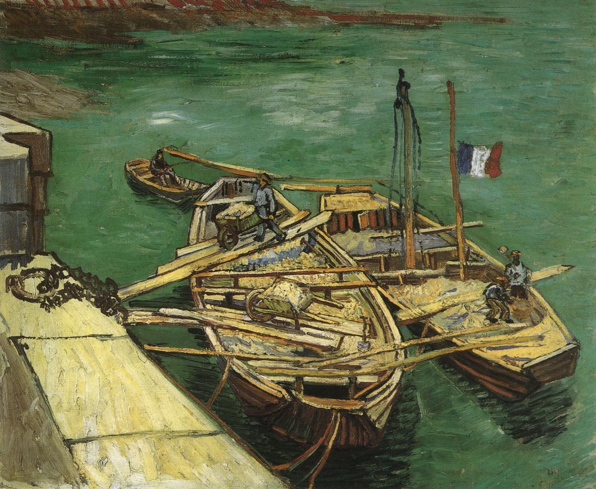 Винсент Ван Гог. Мужчины разгружающие песок на пристани Арля