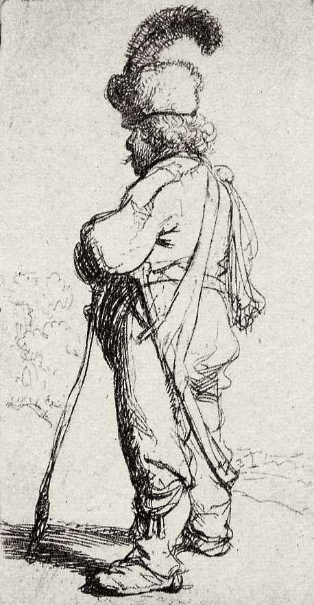 Рембрандт Ван Рейн. Поляк с палкой и саблей