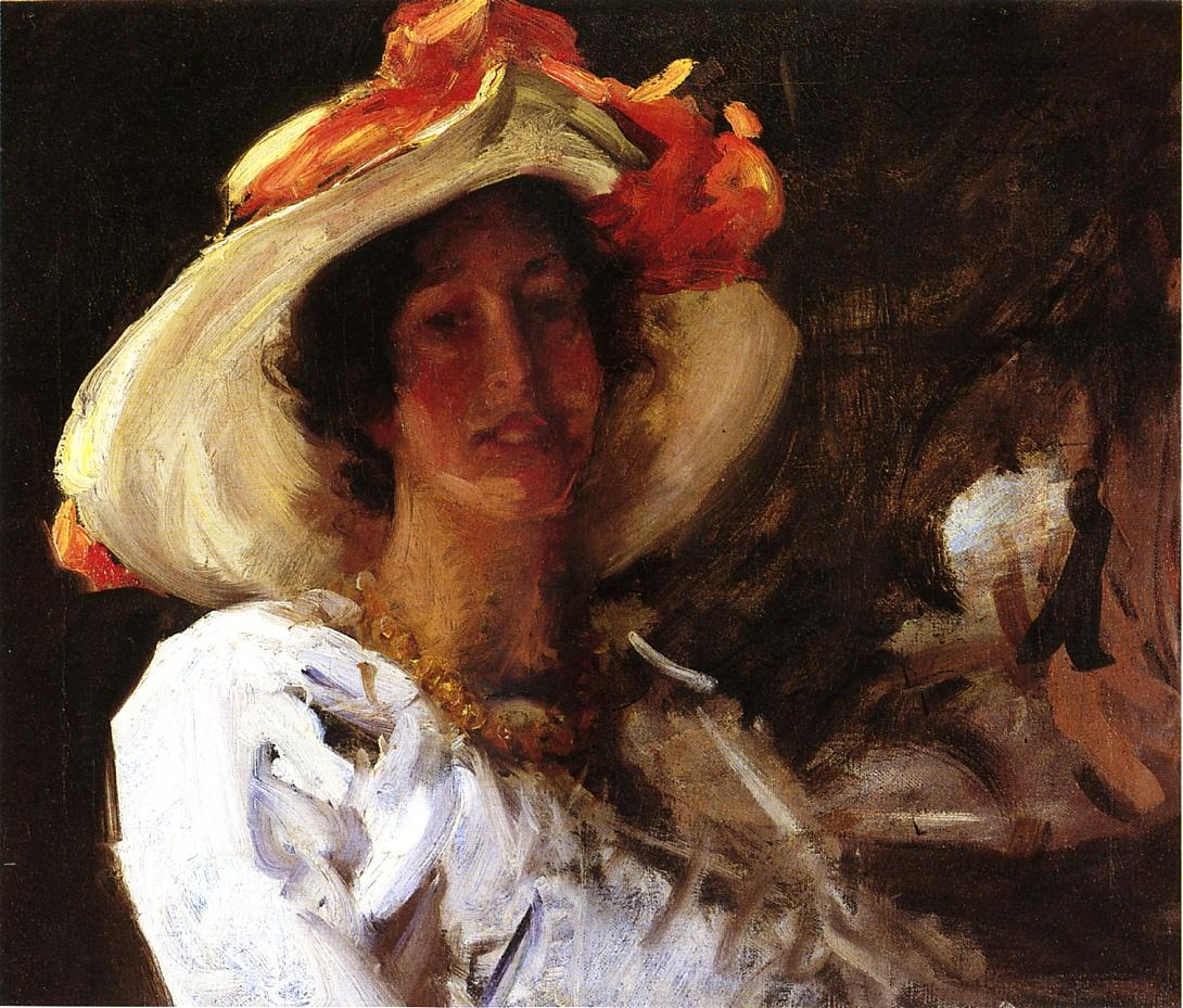 William Merritt Chase. Portrait of Clara Stephens in the hat with orange ribbon