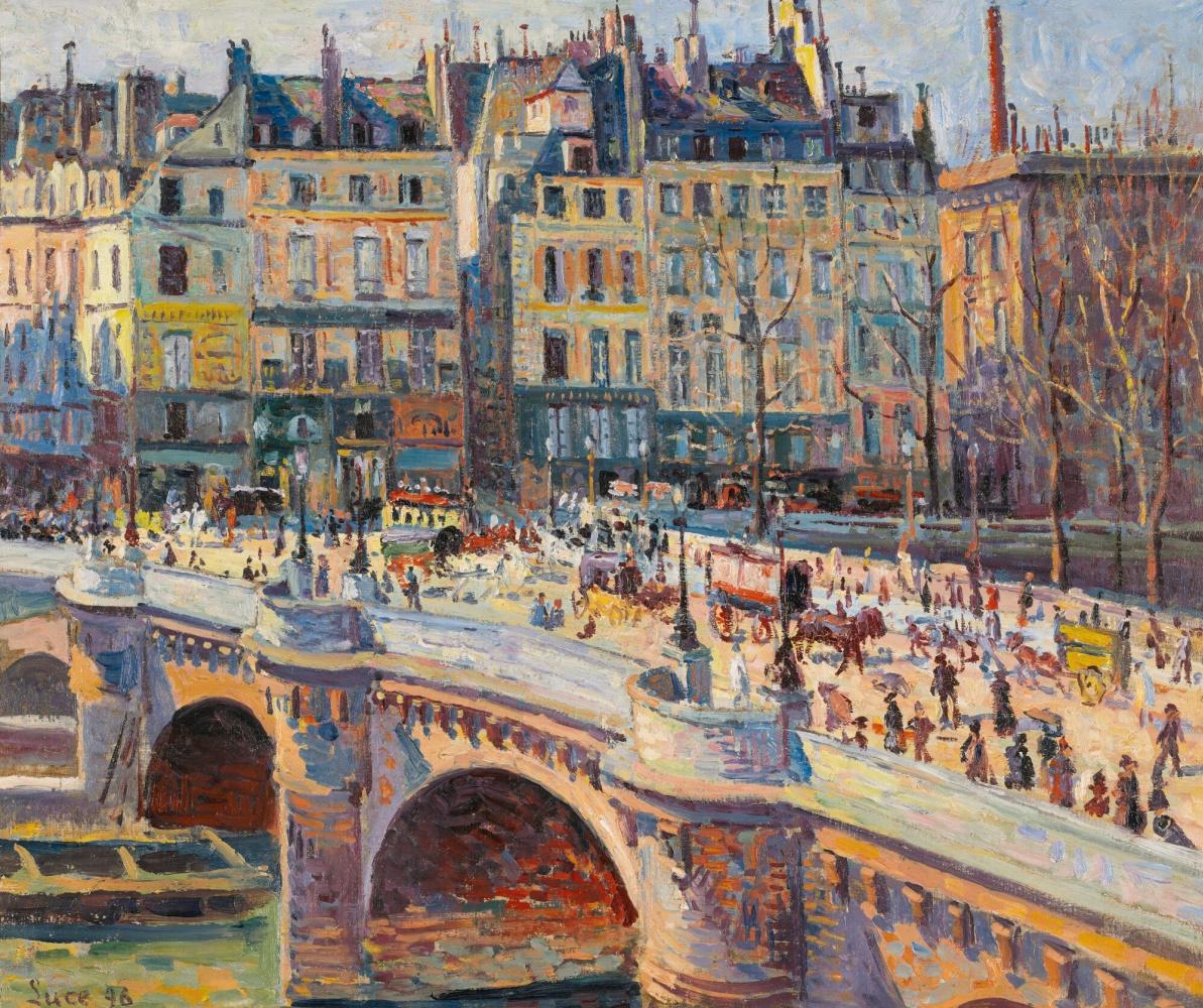 Maximilian Luce. Paris. Conti embankment on a sunny day