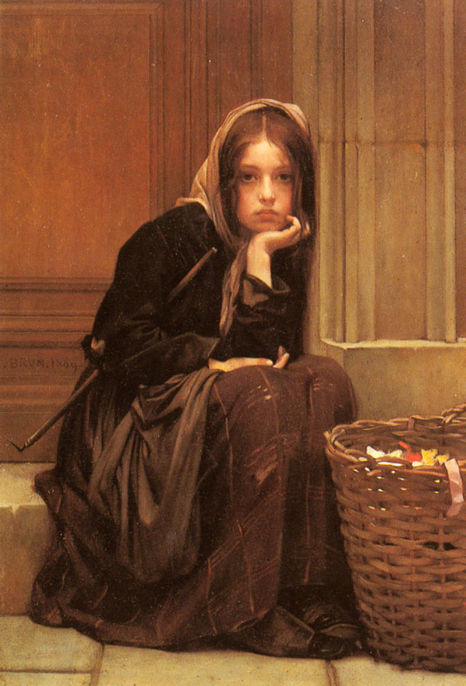 Charles le Brune. Girl with basket