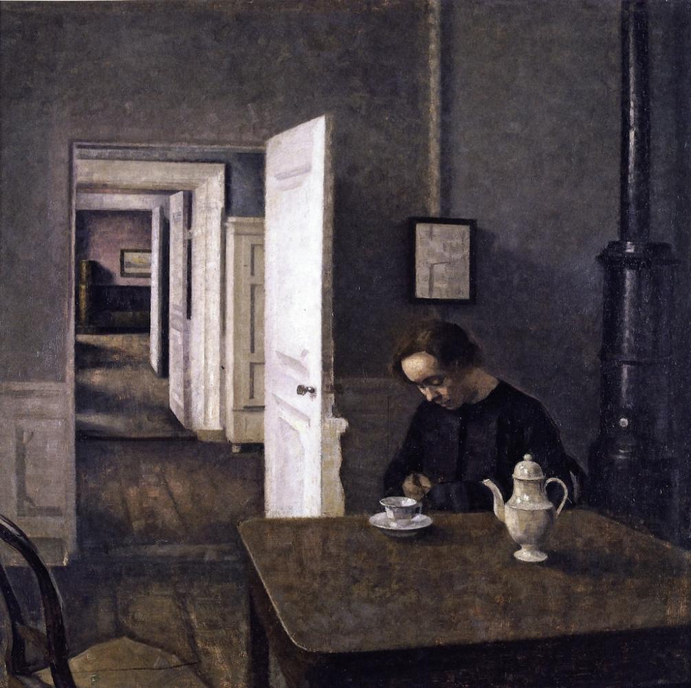 Вильгельм Хаммерсхёй. Интерьер. Женщина, пьющая чай. Страндгед, 25