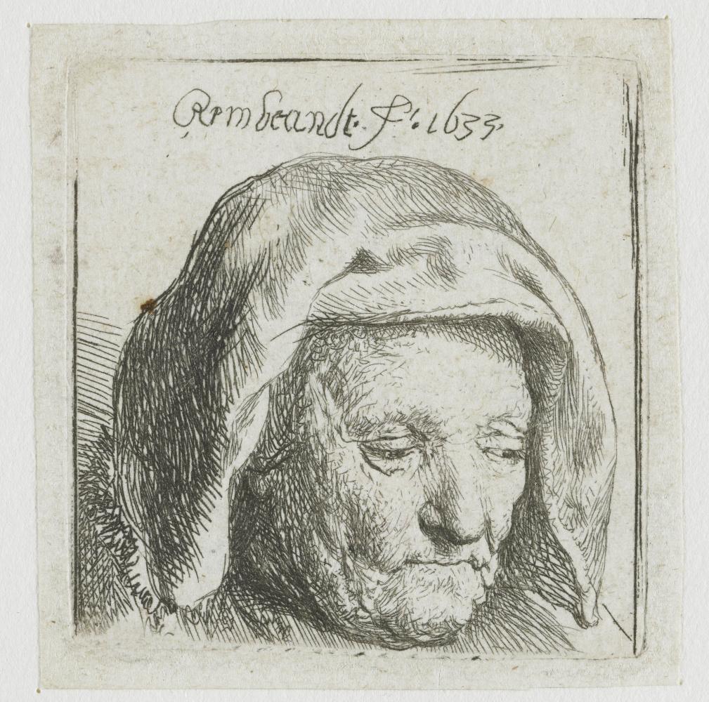 Рембрандт Харменс ван Рейн. Мать художника в платке, смотрящая вниз