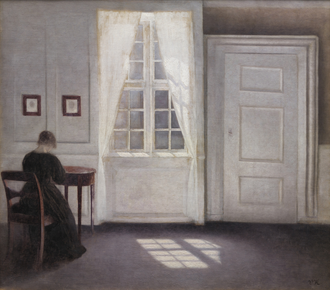 Vilhelm Hammershøi. Interior on the Strandgued with the artist's wife at the table and the sun on the floor
