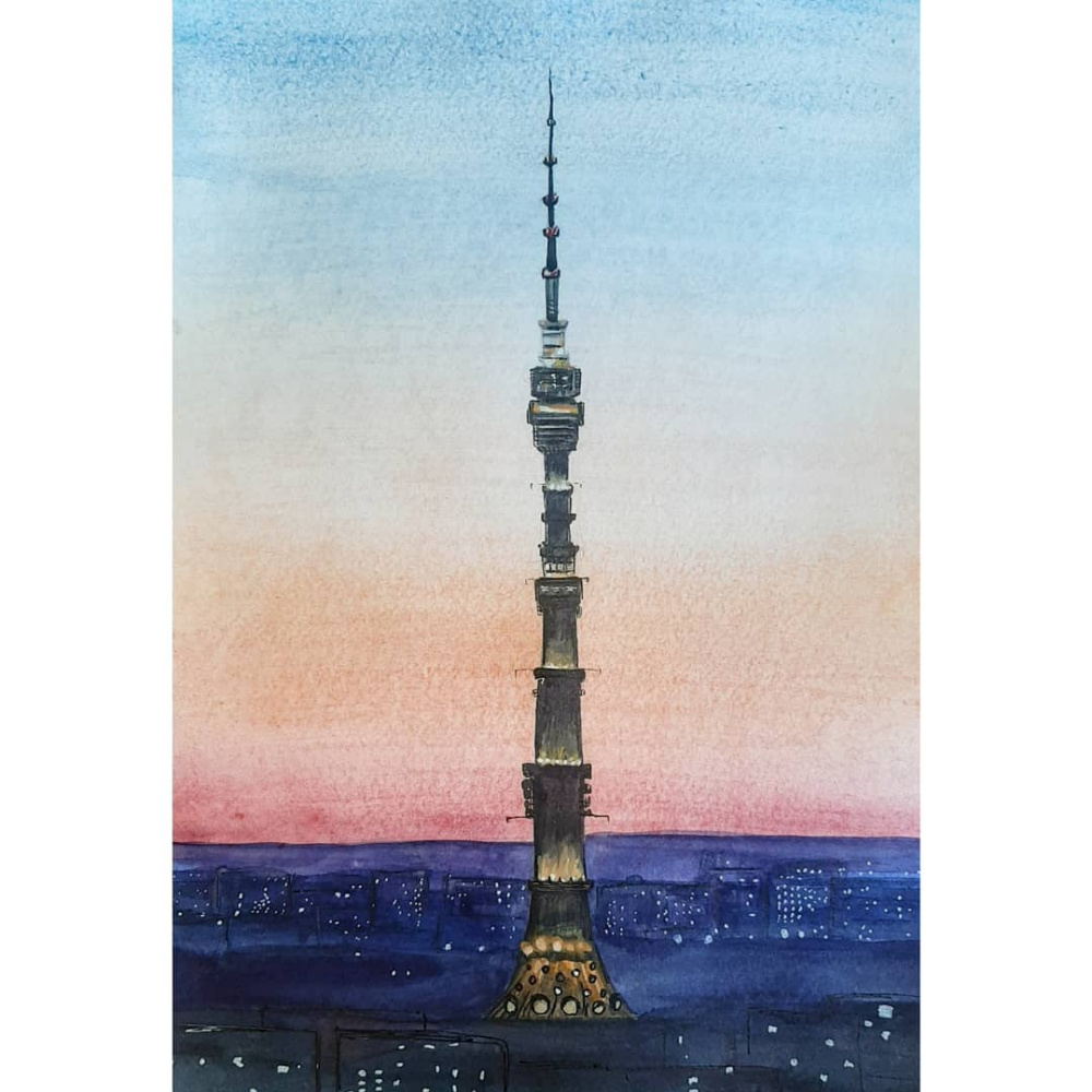 Veronica Savostina. Ostankino television tower at sunset