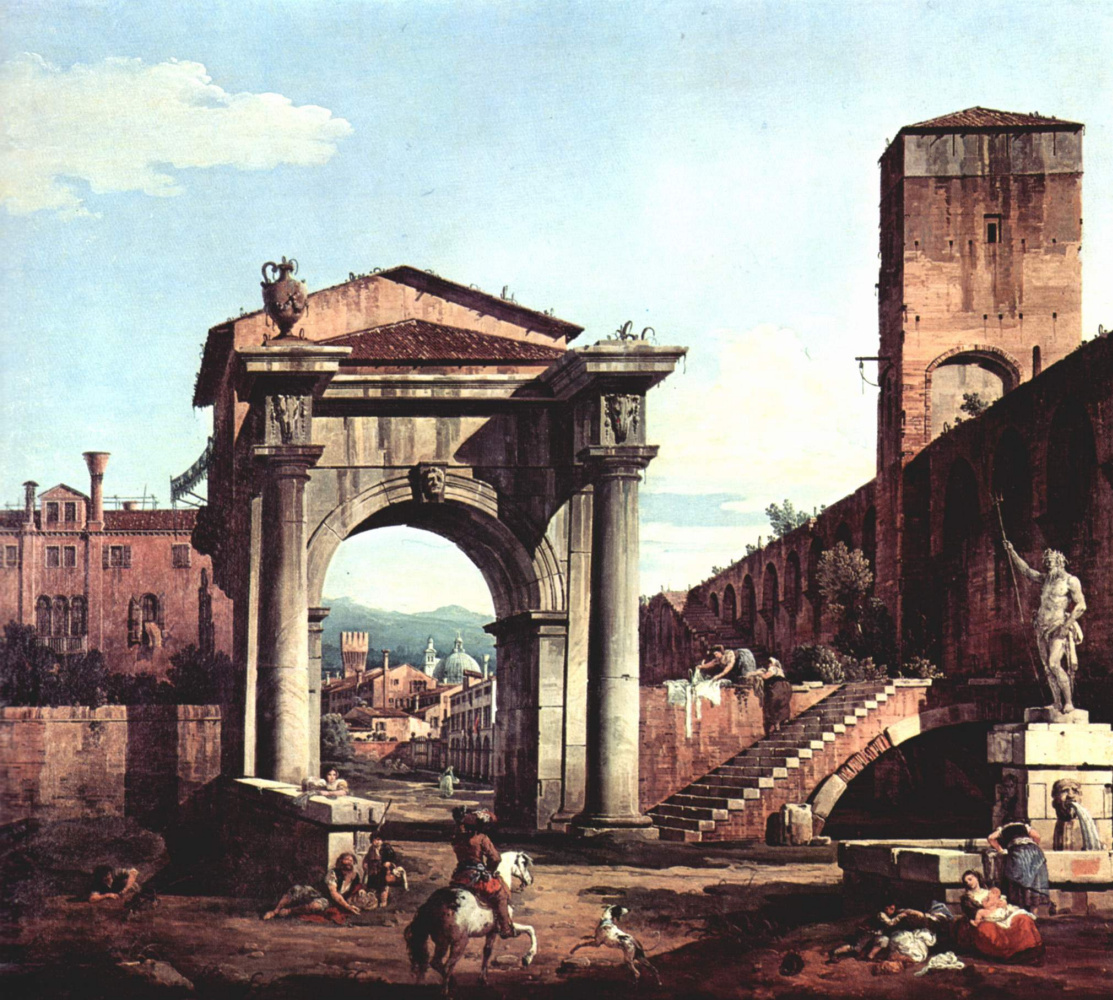 Giovanni Antonio Canal (Canaletto). Roman Capriccio, a city gate and a watchtower