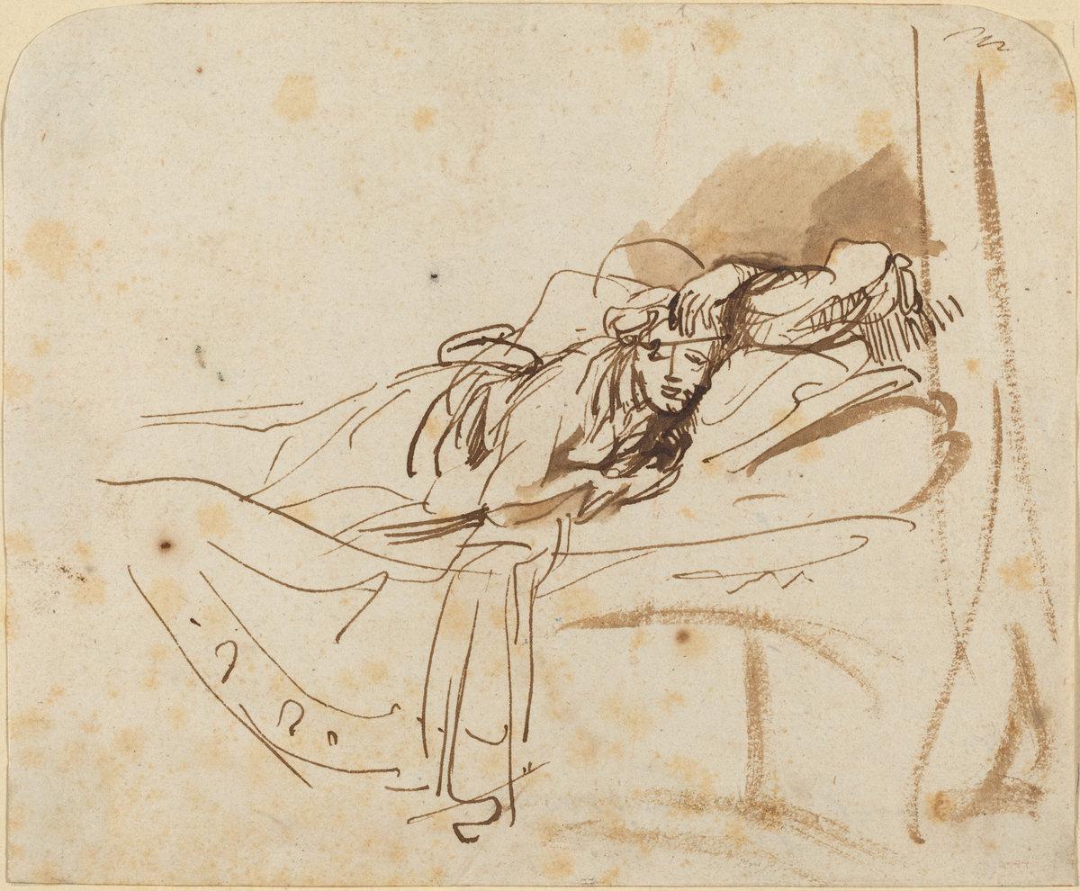 Rembrandt Harmenszoon van Rijn. Saskia(?) Lying in Bed