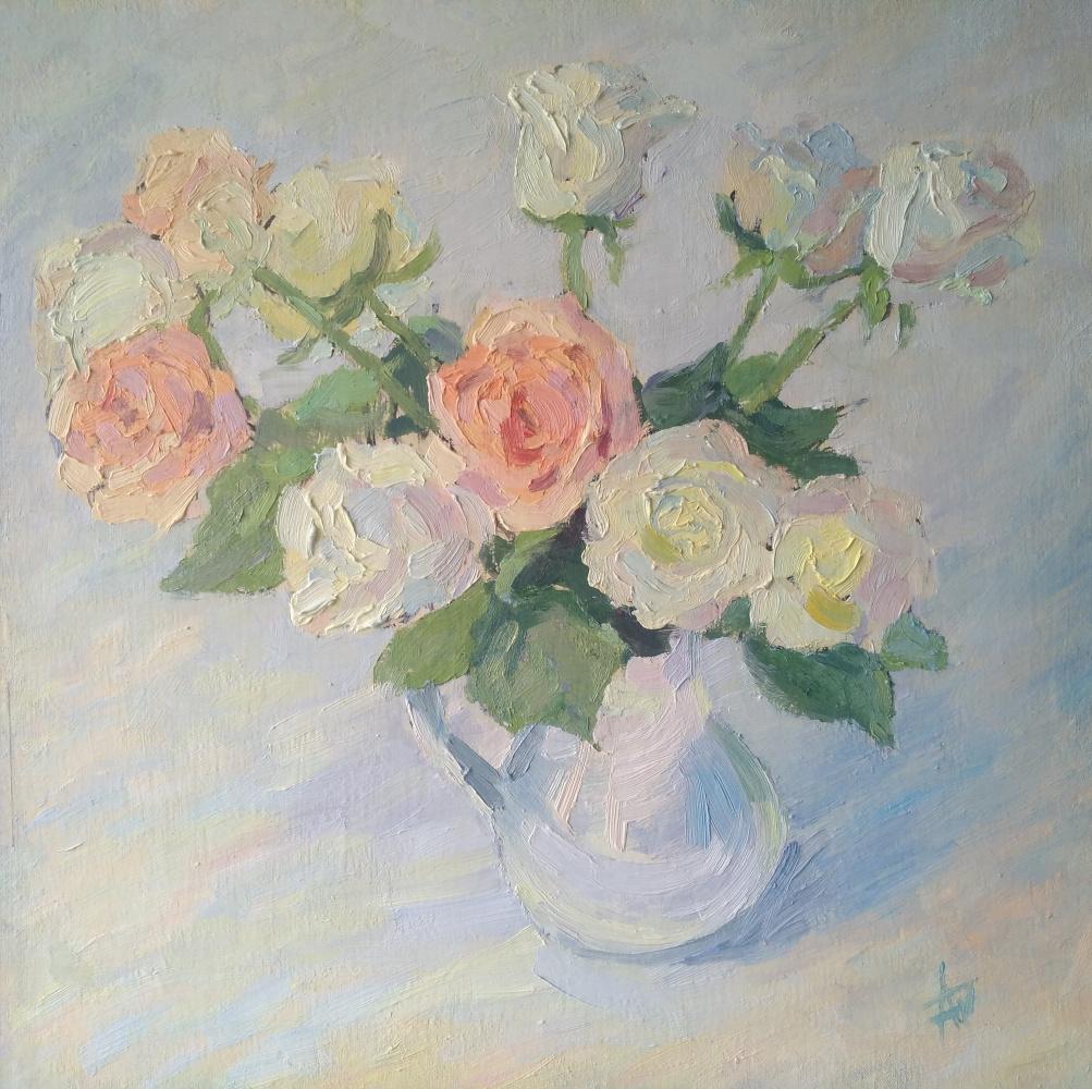 """Anna Valerievna Dolganova. """"Roses in a white jug"""""""