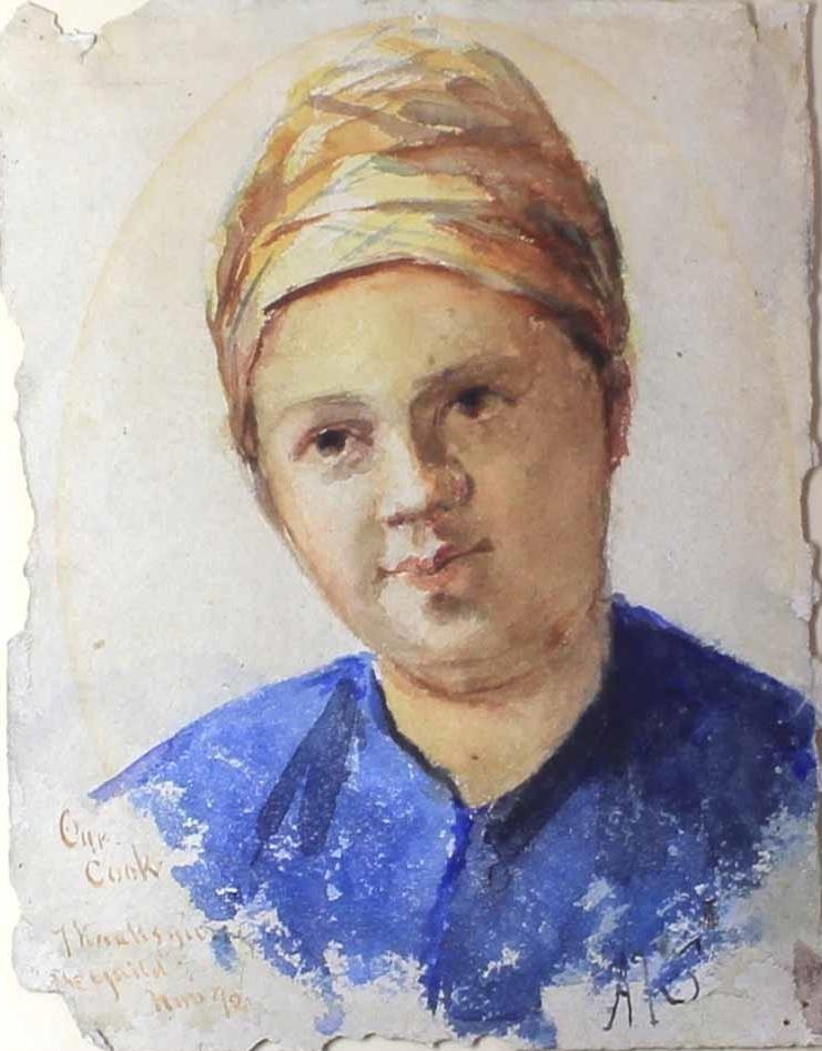 Энтони Фредерик Огастас Сэндис. Портрет женщины в платке и синей блузе