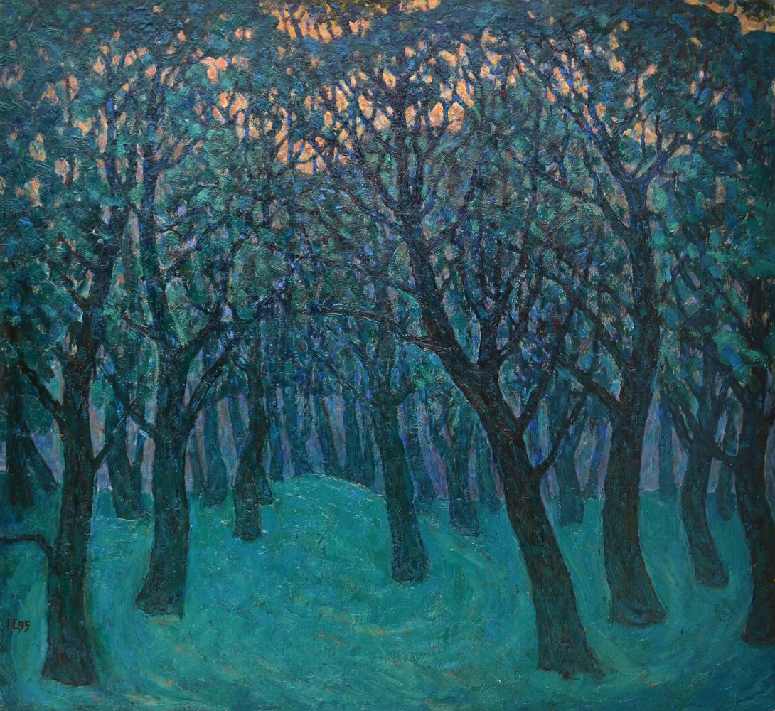 Ivan Dmitrievich Salko. Salko Ivan. Emerald forest. Spring chill. 55,5x60 cm. 1995.