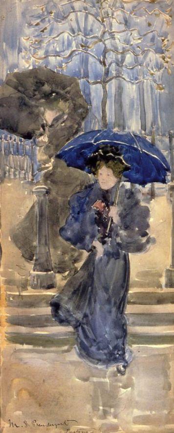 Maurice Braziel Prendergast. Women in the rain