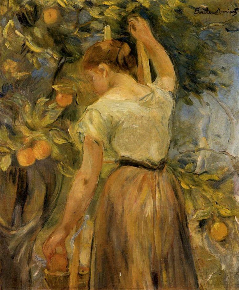 Берта Моризо. Молодая женщина, собирающая апельсины
