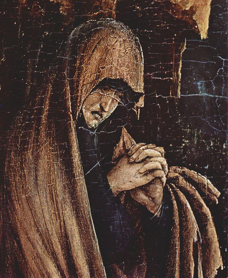 Маттиас Грюневальд. Малое распятие, сцена: Христос на кресте, Мария, Мария Магдалина и св. Иоанн, деталь: Мария