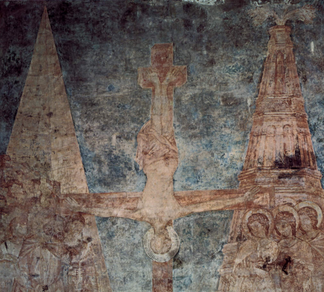 Cimabue (Chenny di Pepo). Frescoes in the Upper Church of San Francesco in Assisi, north transverse nave: scenes from the life of Peter and Paul. Detail: crucifixion.