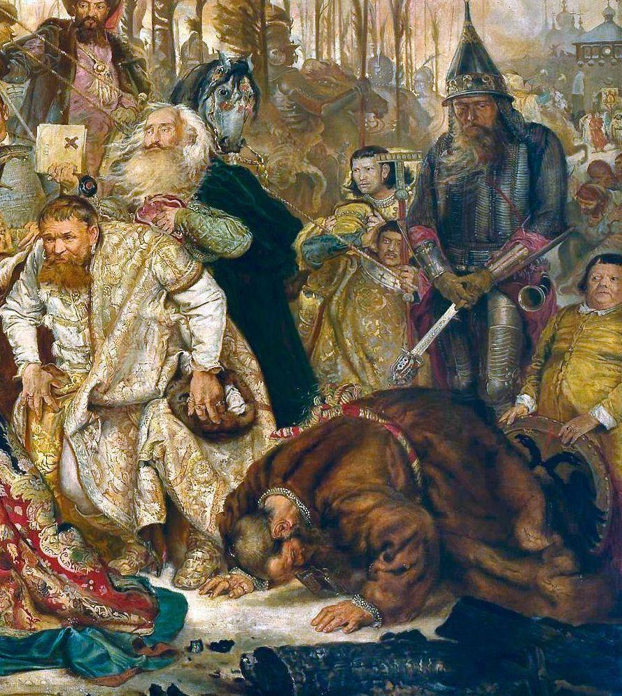 Jan Matejko. Stephen Batory near Pskov. Fragment. Worship. Ivan Nashchokin and Roman Alfiriev