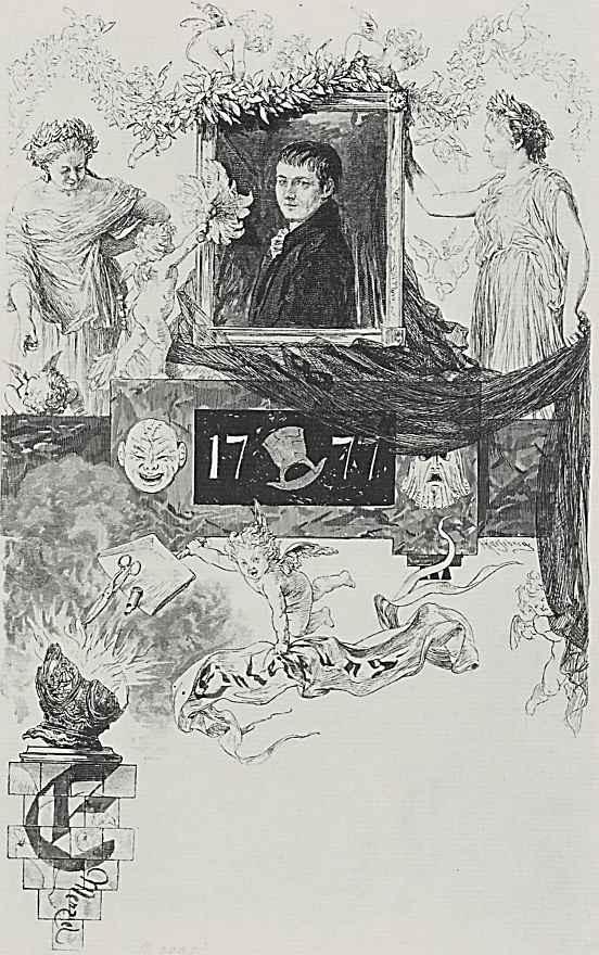 Адольф фон Менцель. Виньетка с портретом Кляйста и инициалом Е