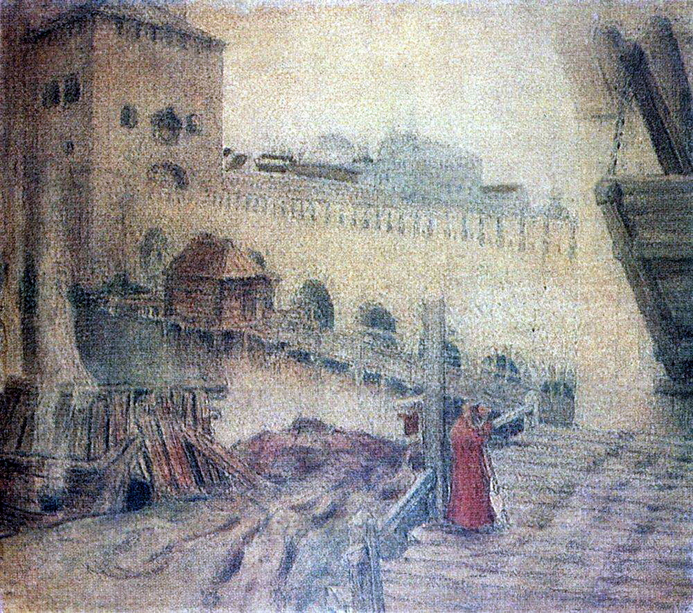 Аполлинарий Михайлович Васнецов. Троицкий мост у башни Кутафьи