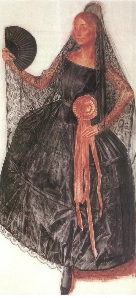 Alexander Yakovlev. Dancer in Spanish costume (perhaps Anna Pavlova)