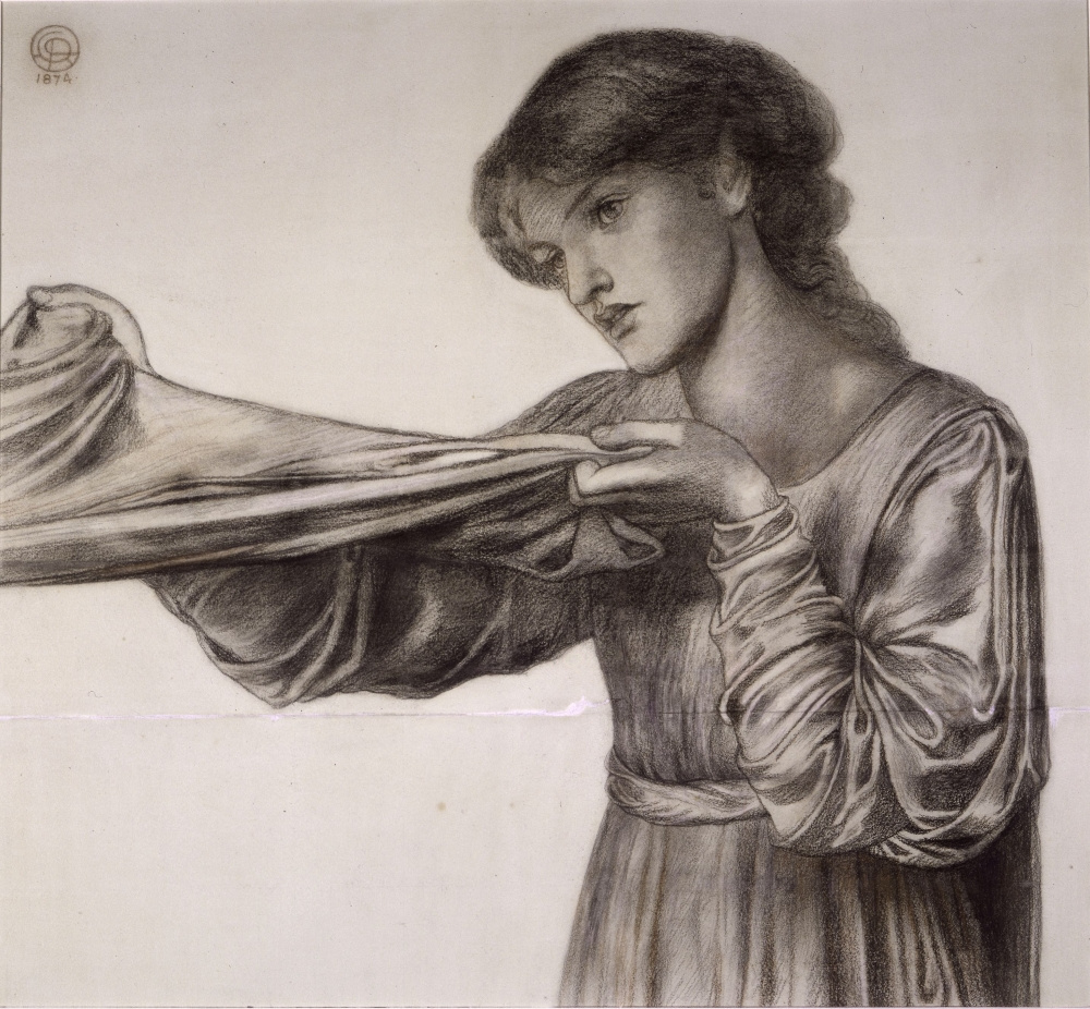 """Данте Габриэль Россетти. Девушка с покрывалом. Эскиз для картины """"Сон Данте"""""""