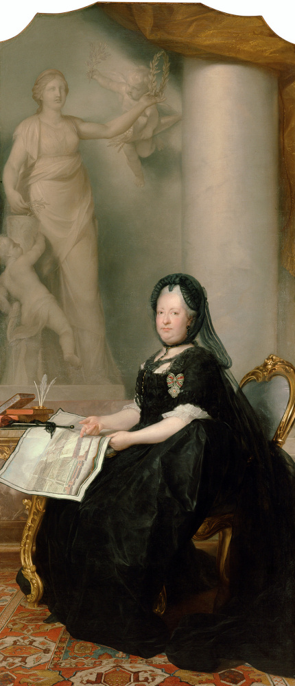 Антон фон Марон. Портрет императрицы Марии Терезии у статуи Мира