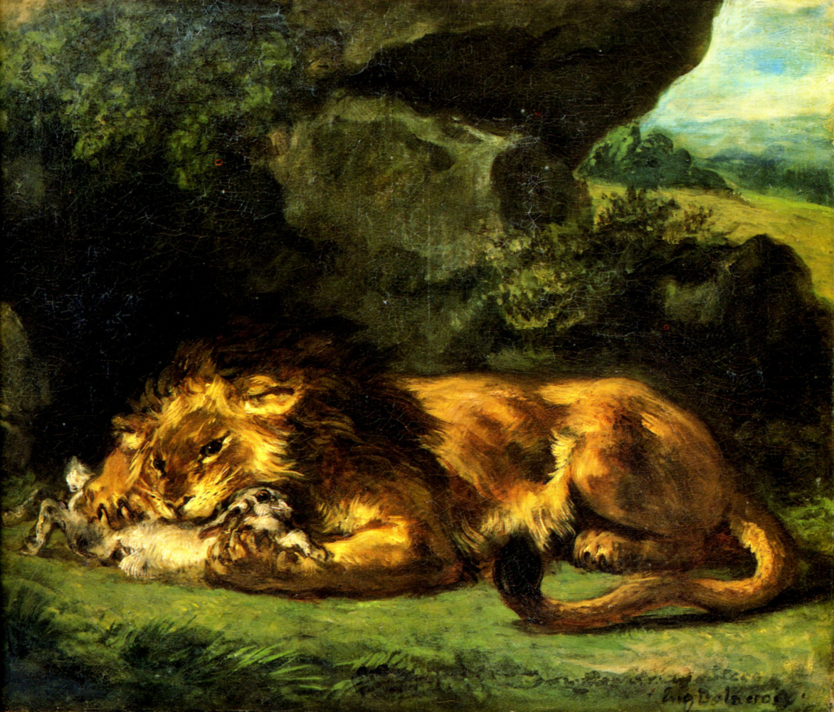 Eugene Delacroix. Lion devouring a rabbit