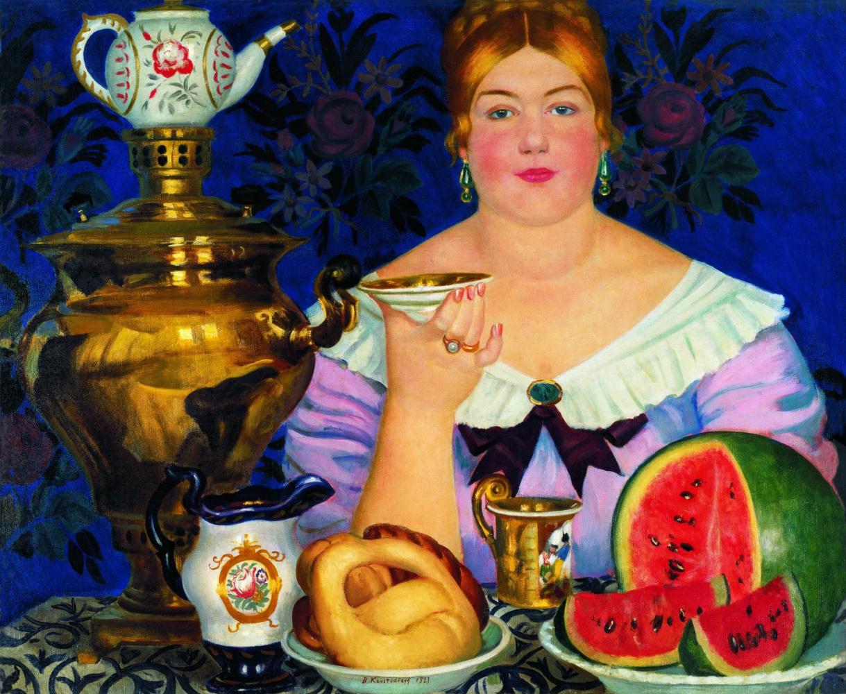 Boris Kustodiev. The merchant's wife drinking tea