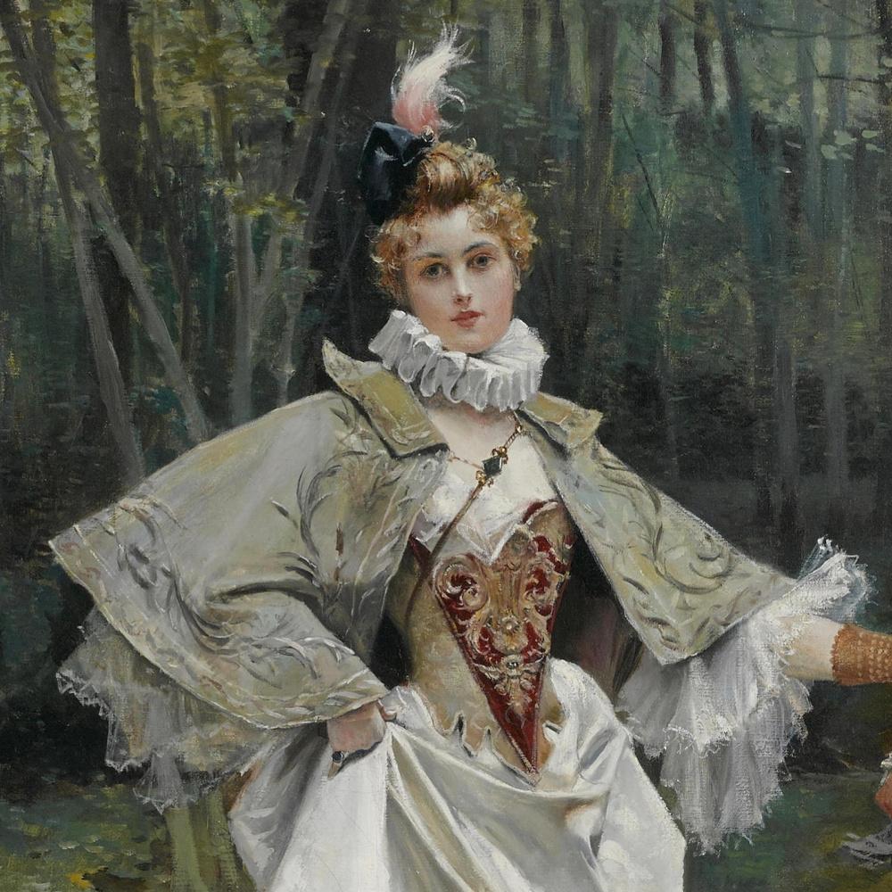 Франсуа Фламенг. Красавица в парке.   деталь
