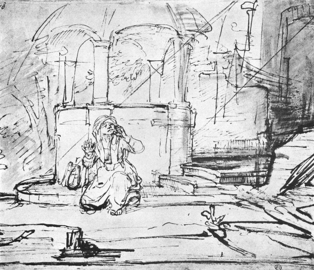 Рембрандт Харменс ван Рейн. Агарь у колодца на пути в Сур