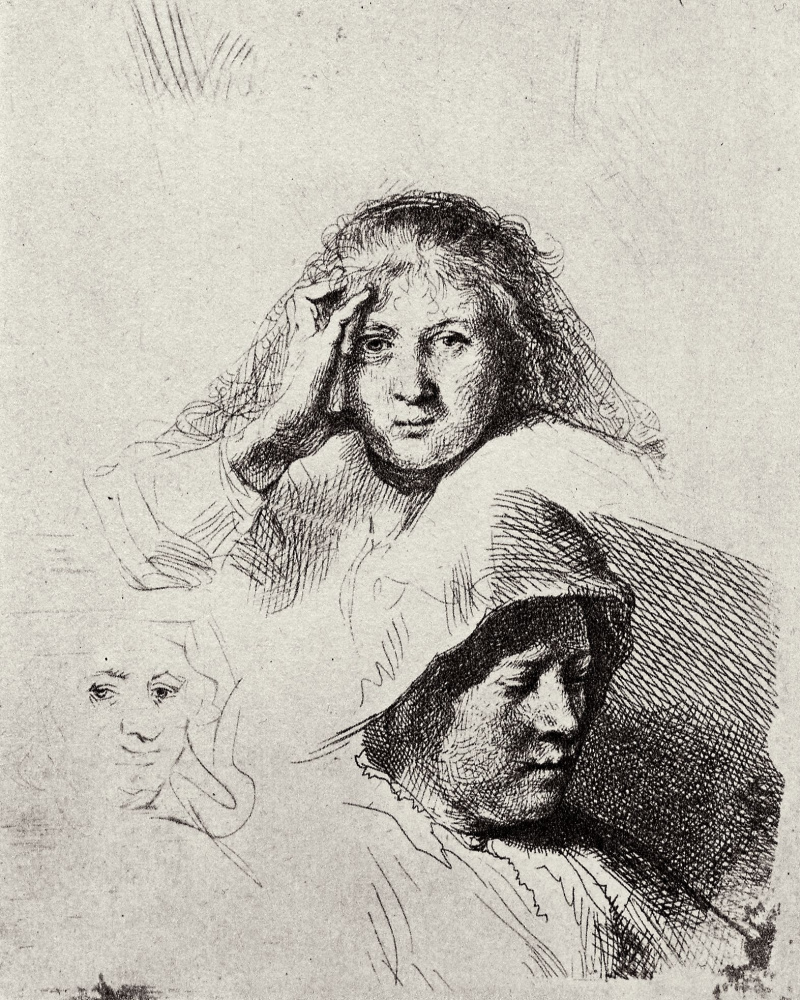 Rembrandt Harmenszoon van Rijn. Outline three female heads with a portrait of Saskia