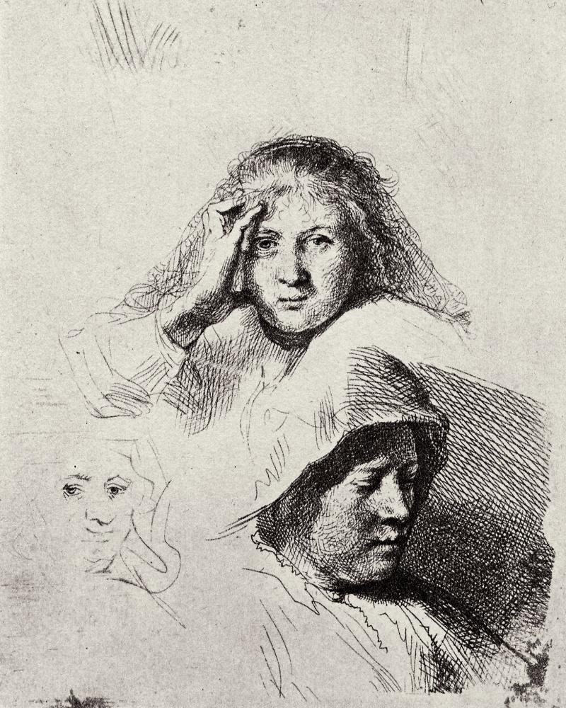 Рембрандт Харменс ван Рейн. Наброски трёх женских голов с портретом Саскии