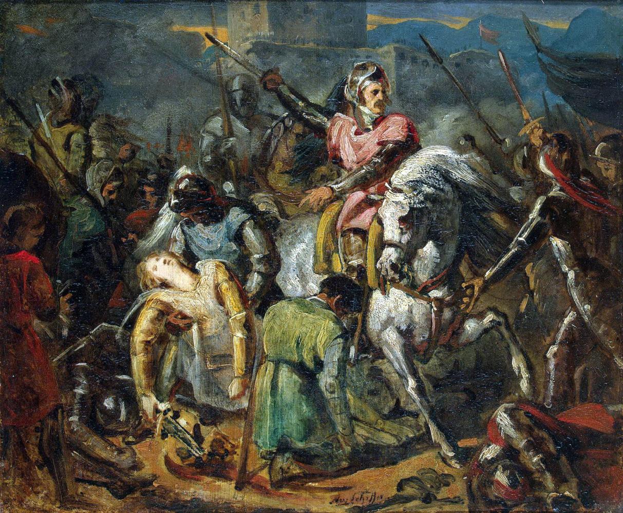 Ари Шеффер. Смерть Гастона де Фуа в битве при Равенне