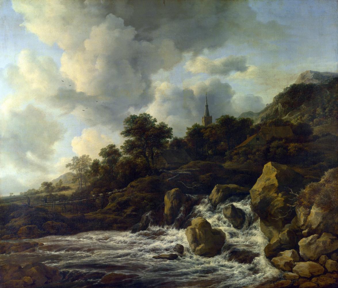 Якоб Исаакс ван Рейсдал. Водопад у подножия холма, рядом с поселком