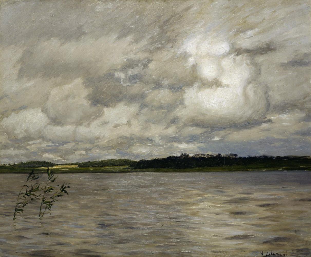 Isaac Levitan. The lake. Gray day
