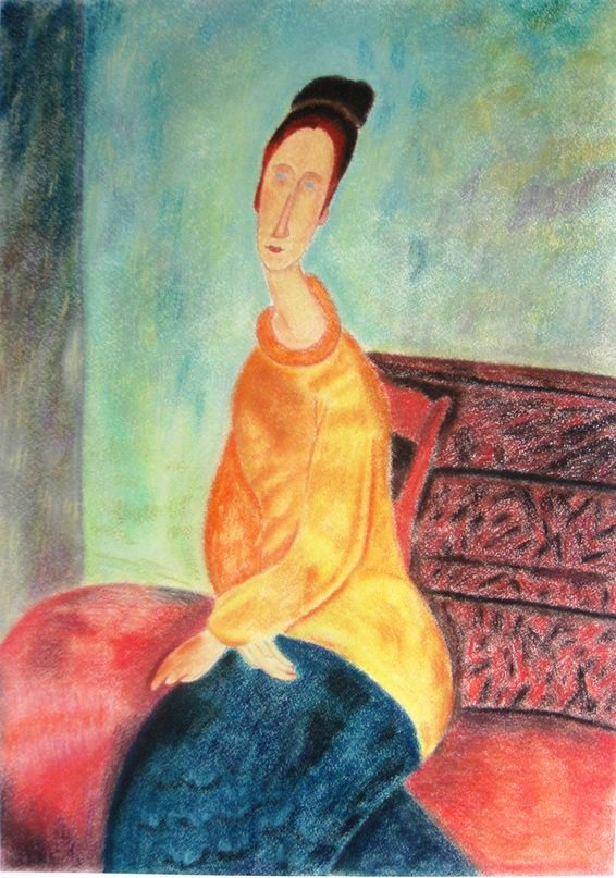 Ekaterina Kabanova. 'Jeanne Hebuterne in a Yellow Sweater', a copy of the Picture of Modelan