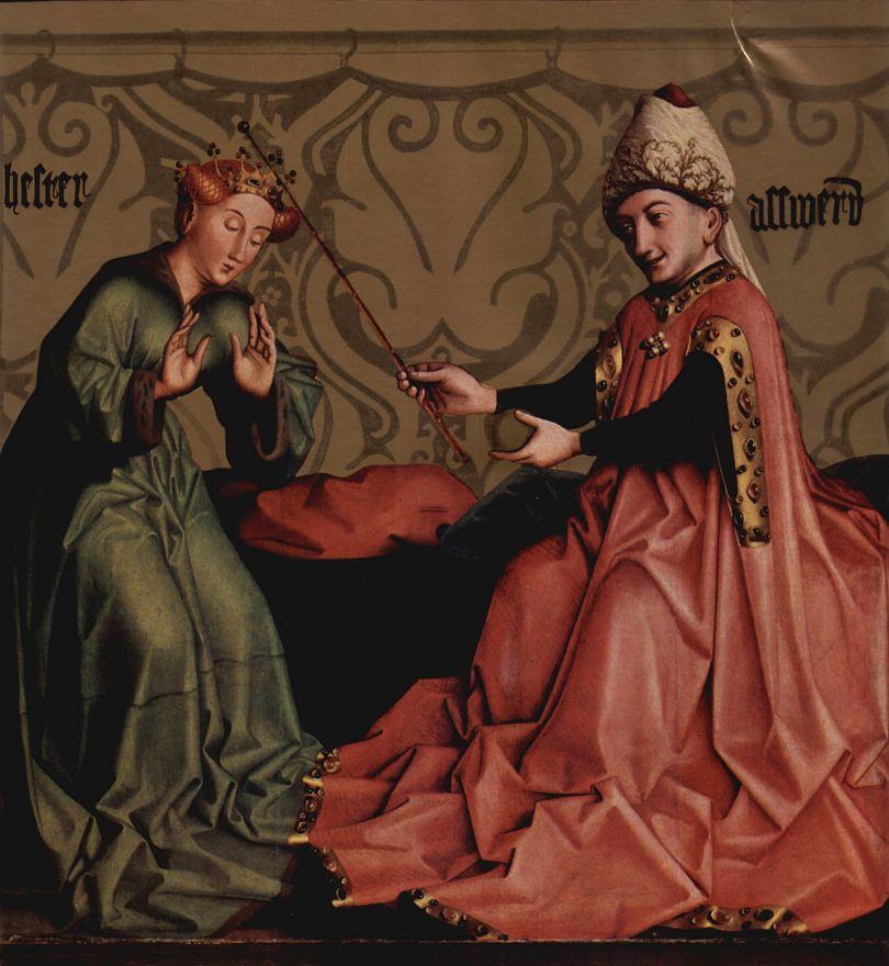 Конрад  (Витц) Виц. Есфирь и Артаксеркс. Алтарь церкви Санкт-Леонард в монастыре августинцев в Базеле