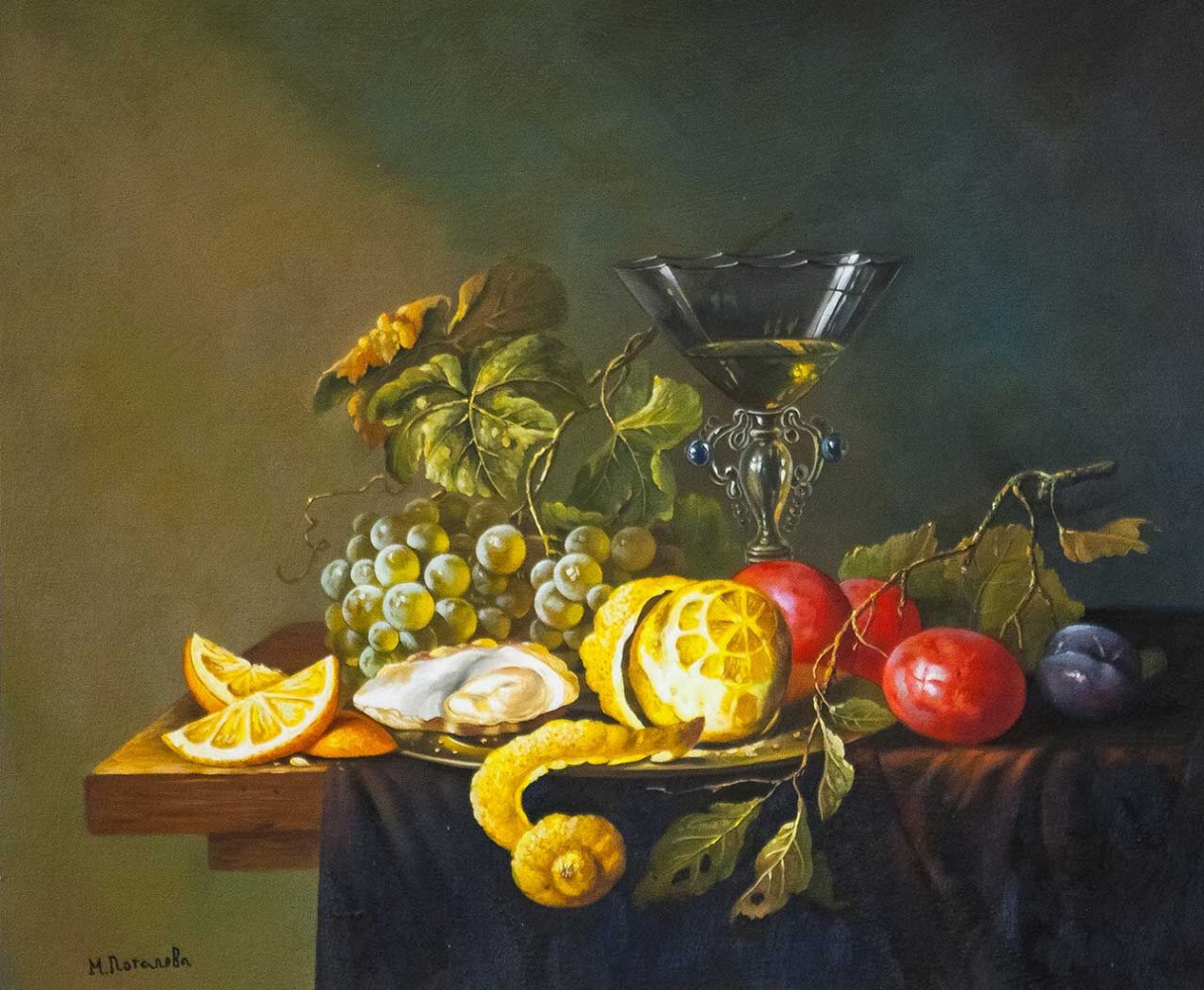 "Maria Potapova. Copy of Jan Davids de Hem's Still Life ""Still Life with Lemon, Oysters and Grapes"""