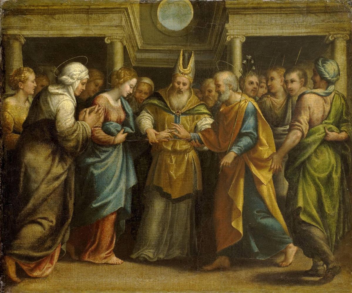 Неизвестный  художник. Нидерландская школа. 1525-1549 Обручение Девы Марии с Иосифом.