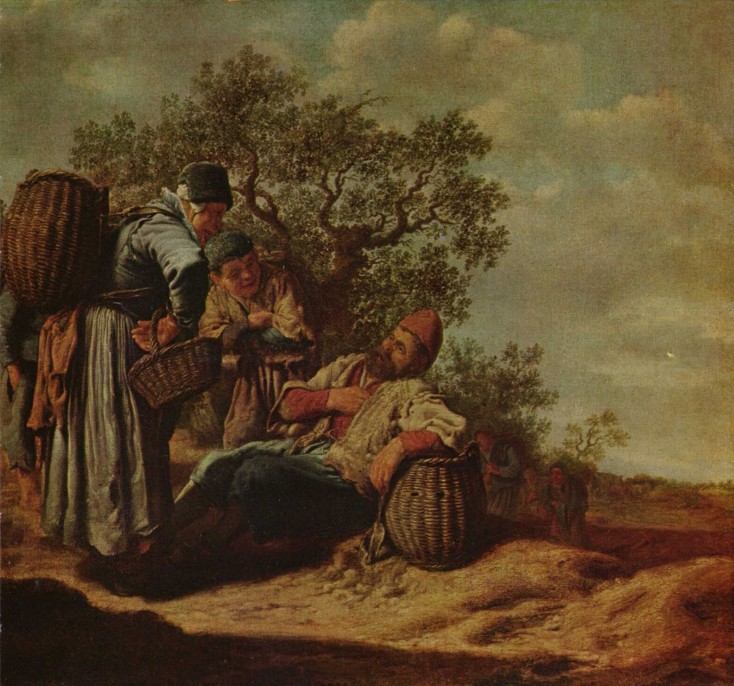 Питер де Молин. Пейзаж с беседующими крестьянами