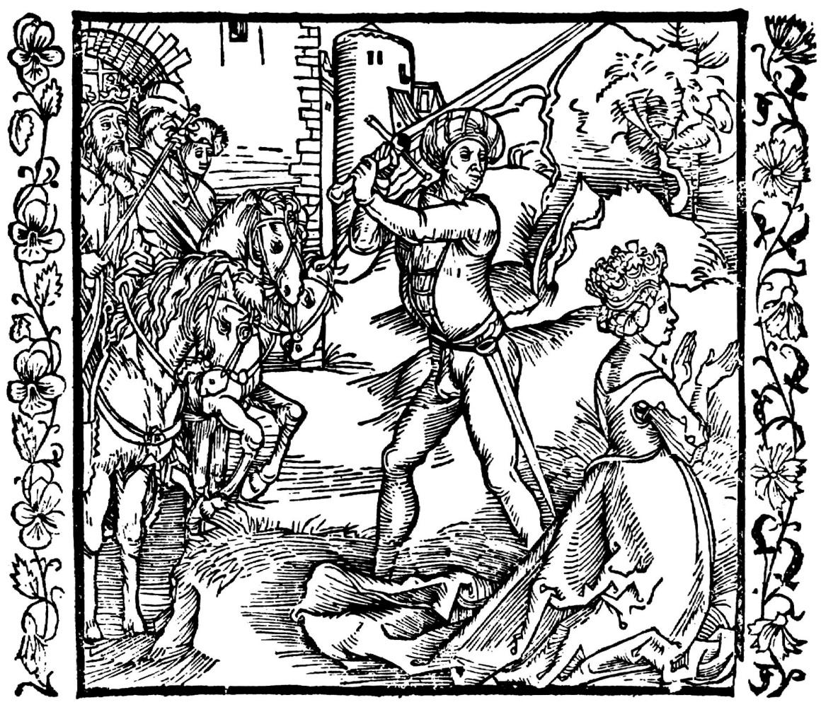 """Альбрехт Дюрер. Иллюстрация к книге """"Рыцарь де ля Тур"""". Ииуй обезглавливает Иезавель"""